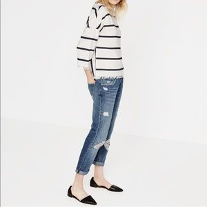 White & Blue Striped Summer Boxy Frayed Top Zara